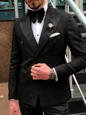 Dundoff Slim-Fit Tuxedo Double Breasted Suit Black