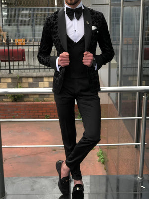 Floress Slim-Fit Tuxedo Suit Vest black