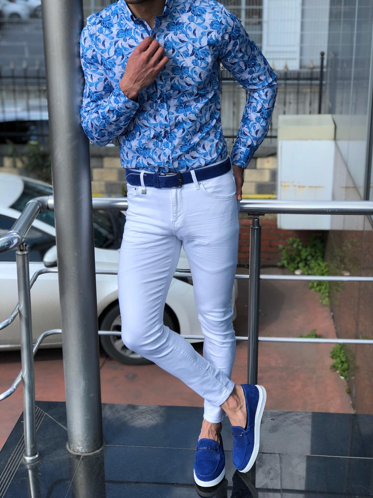 Slim-Fit Patterned Shirt Turquoise