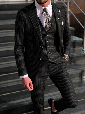 Deswesh Slim-Fit Striped Suit Vest Black