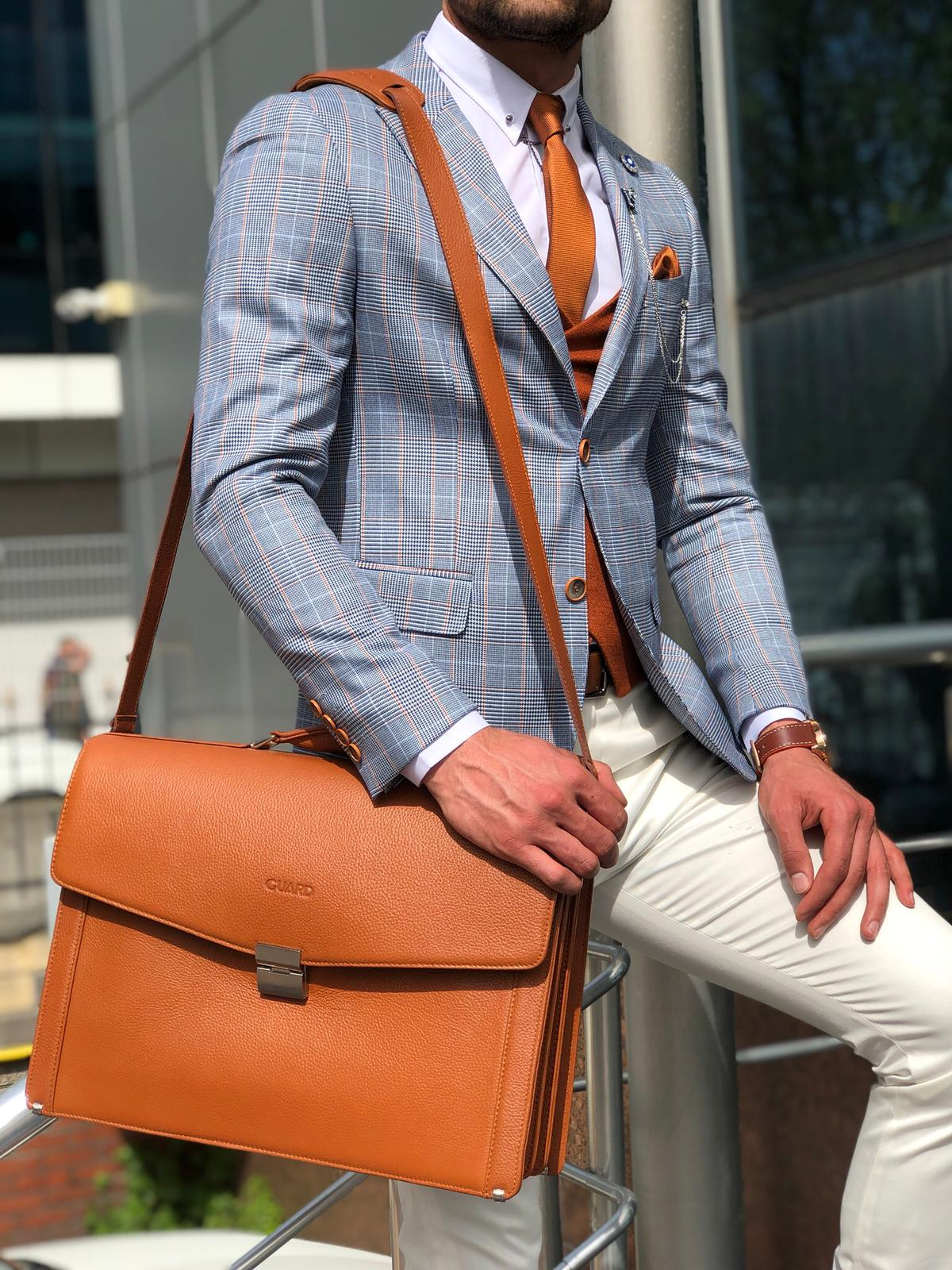 PREMIUM SERIES LEATHER BRIEFCASE TAN