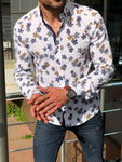 Slim-Fit Patterned Shirt white