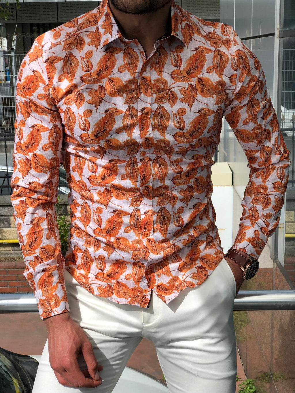 Slim-Fit Patterned Shirt Orange