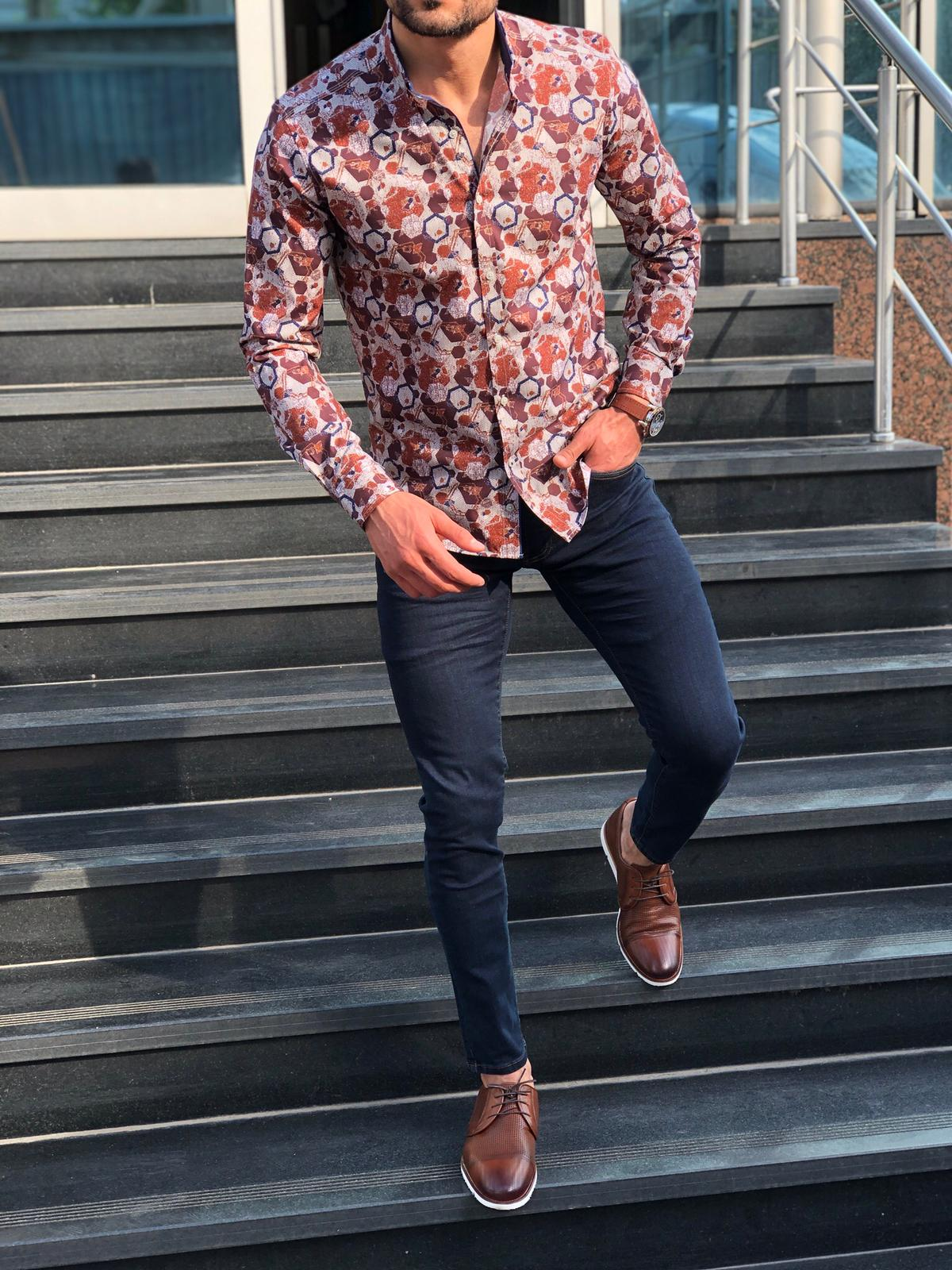 Blake Tile Patterned Slim Shirt
