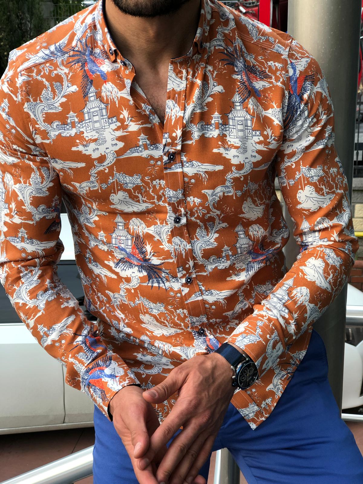 Blake Orange Patterned Slim Shirt
