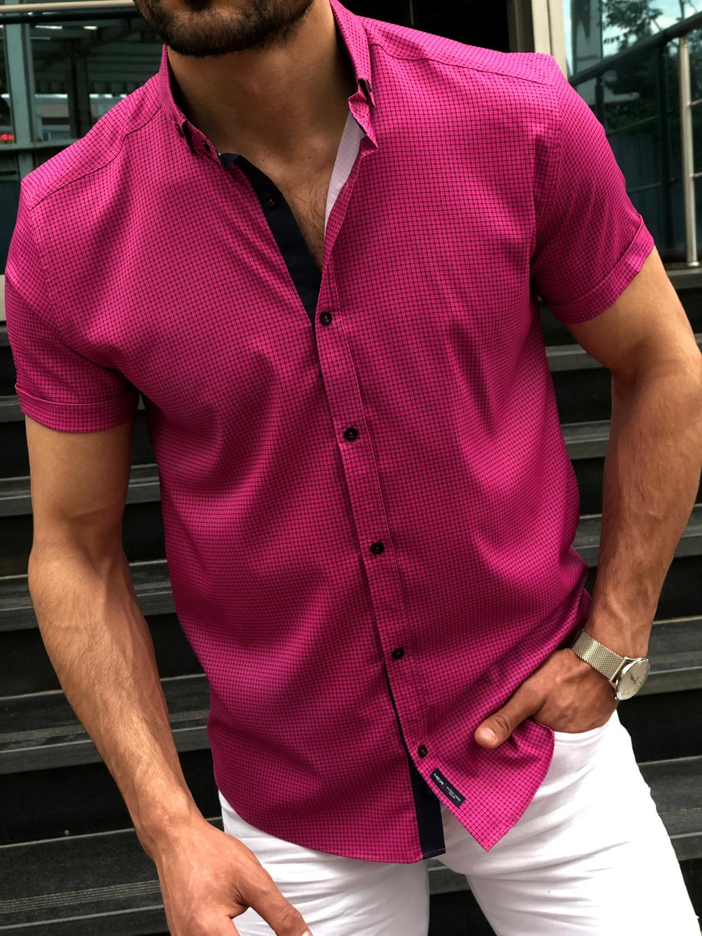 Blake Fuchsia Short Sleeved Shirt