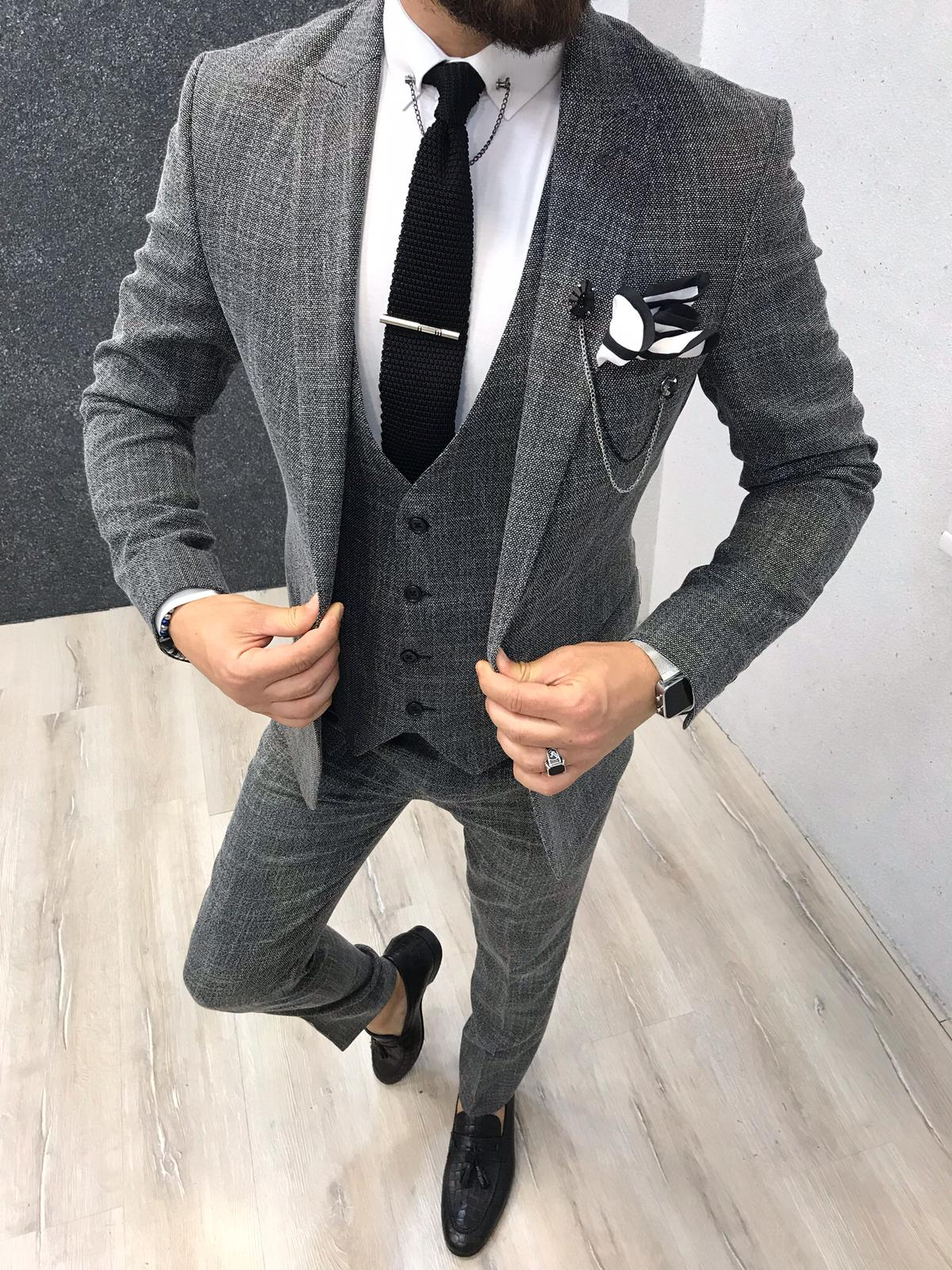 Boszi Slim-Fit Vest Gray
