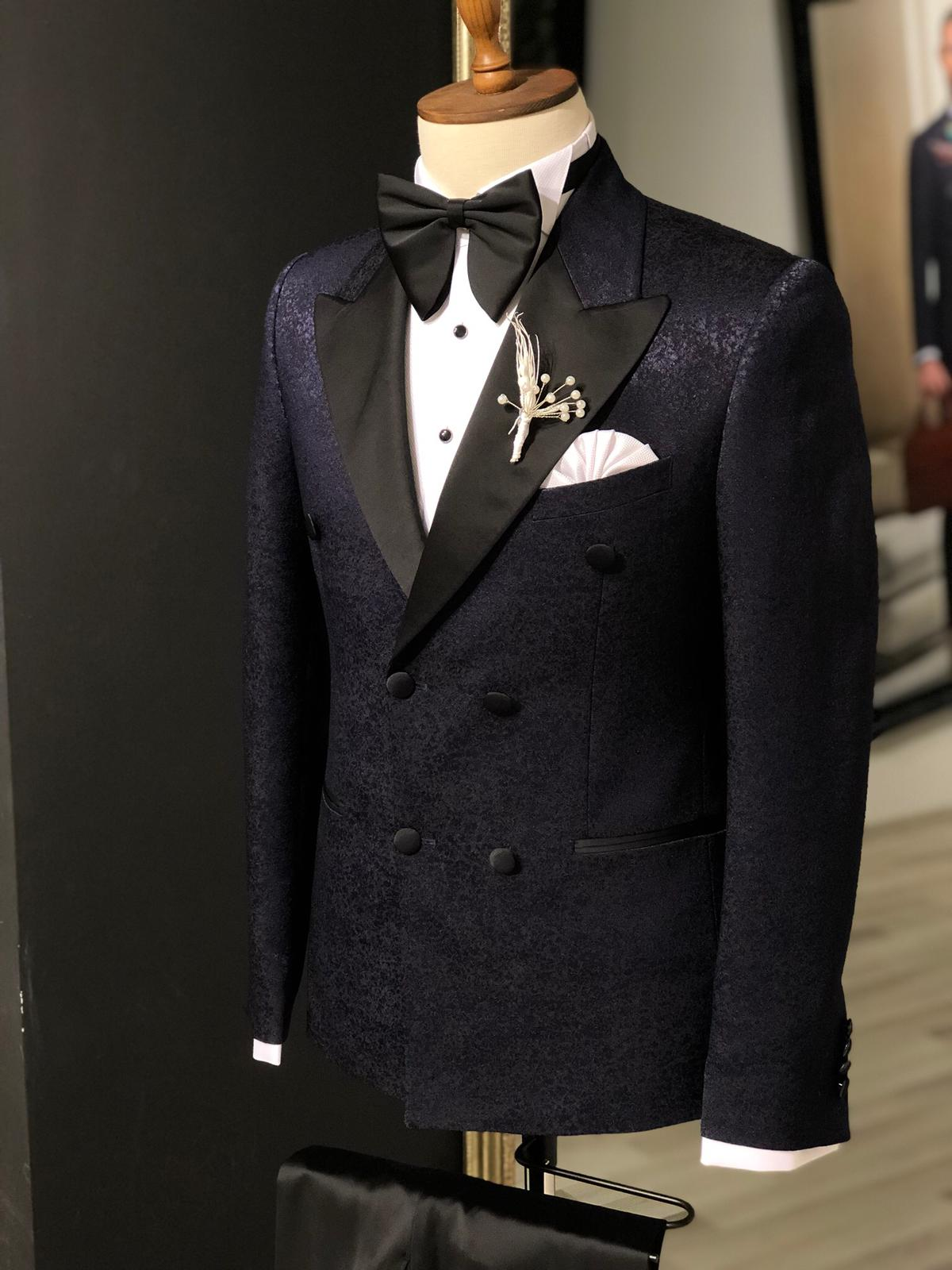 Slim-Fit Tuxedo Double Breasted Navy Blue