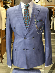 Slim-Fit Striped  Double Breasted Suit Blue
