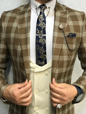 Cream Plaid Slim Fit