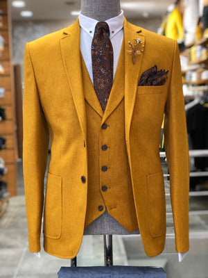 Mustard Slim-Fit Cotton  Suit Vest
