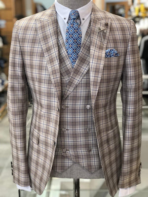 Branoss Slim-Fit Plaid Suit Vest Brown
