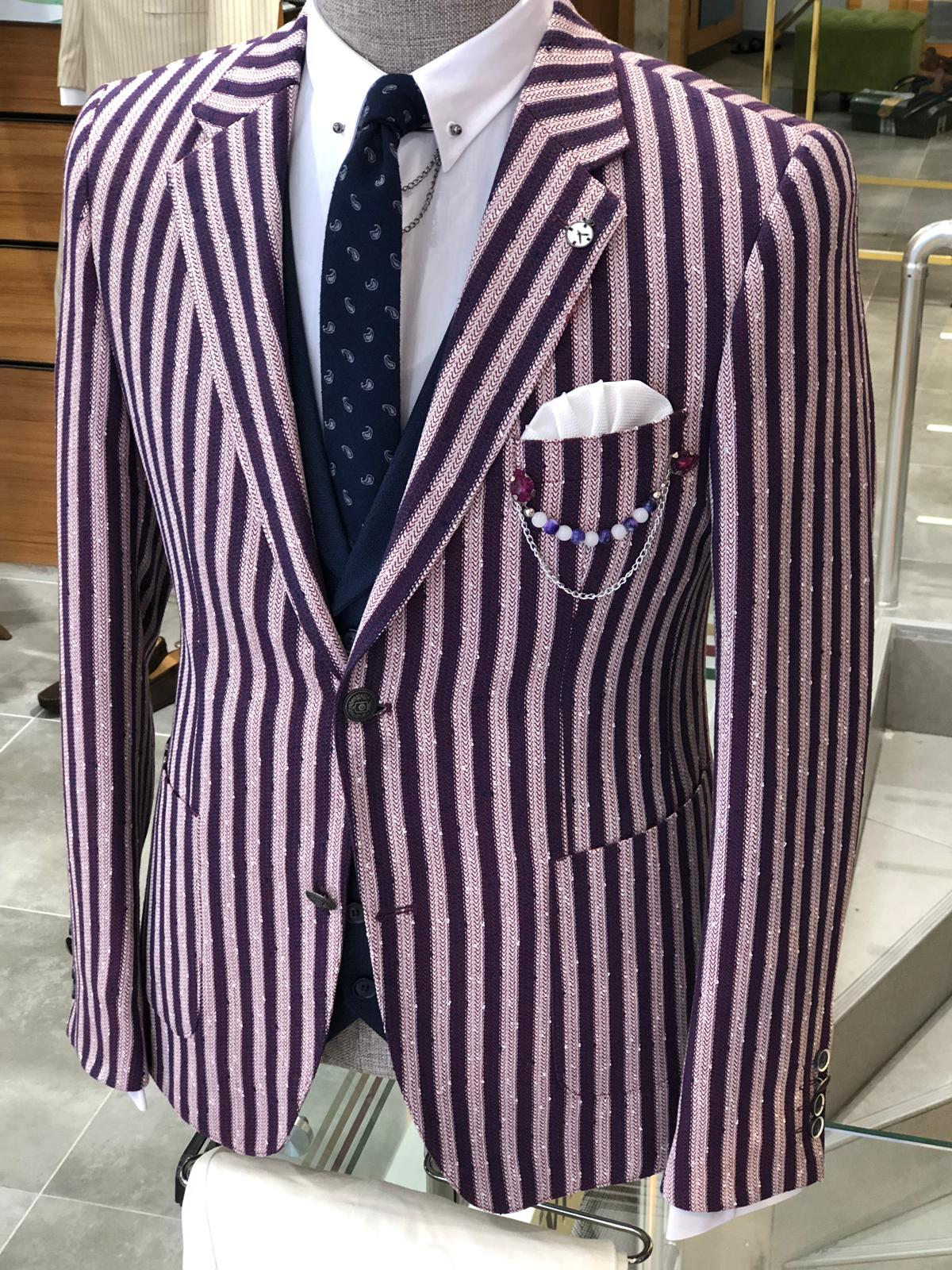Pinkos Slim-Fit Striped Suit Vest Claret red