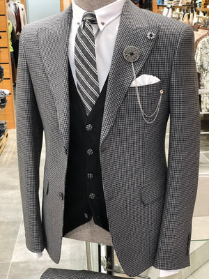 Baha Slim-Fit Patterned Suit Vest Black