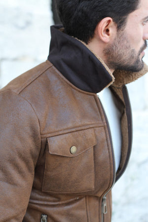 Alonso Leather Coat With Collar Fur