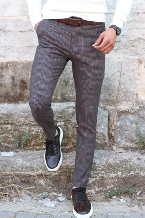 Martin Slim-Fit Plaid Pants in Camel