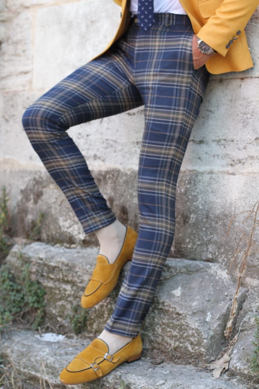 Pac Slim-Fit Plaid Pants in Blue