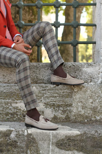 Pac Slim-Fit Plaid Pants Camel