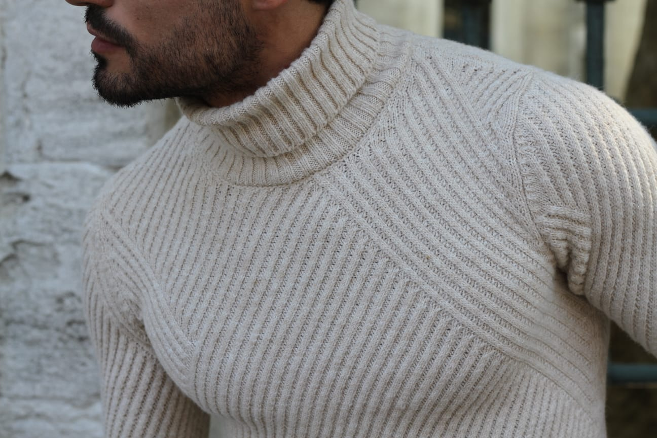 Patrick Slim-Fit Knitted Sweater in Beige