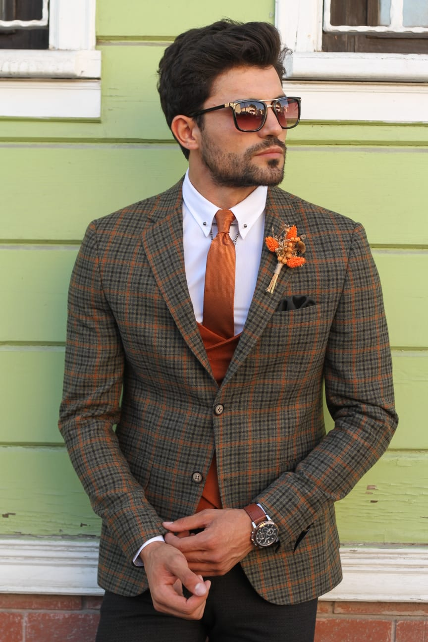 Bando Slim-Fit Wool Plaid Jacket Khaki