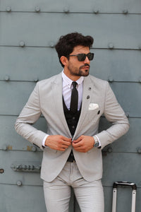 Bojo Slim-Fit Patterned Suit Grey ( BIG SIZES )