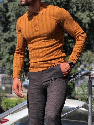 Slim-Fit Polo Sweater Camel
