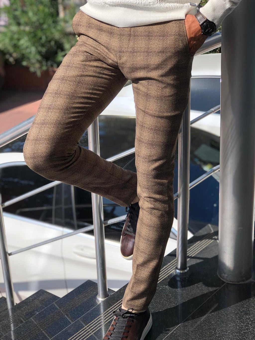 Malacan Slim-fit Pants Brown