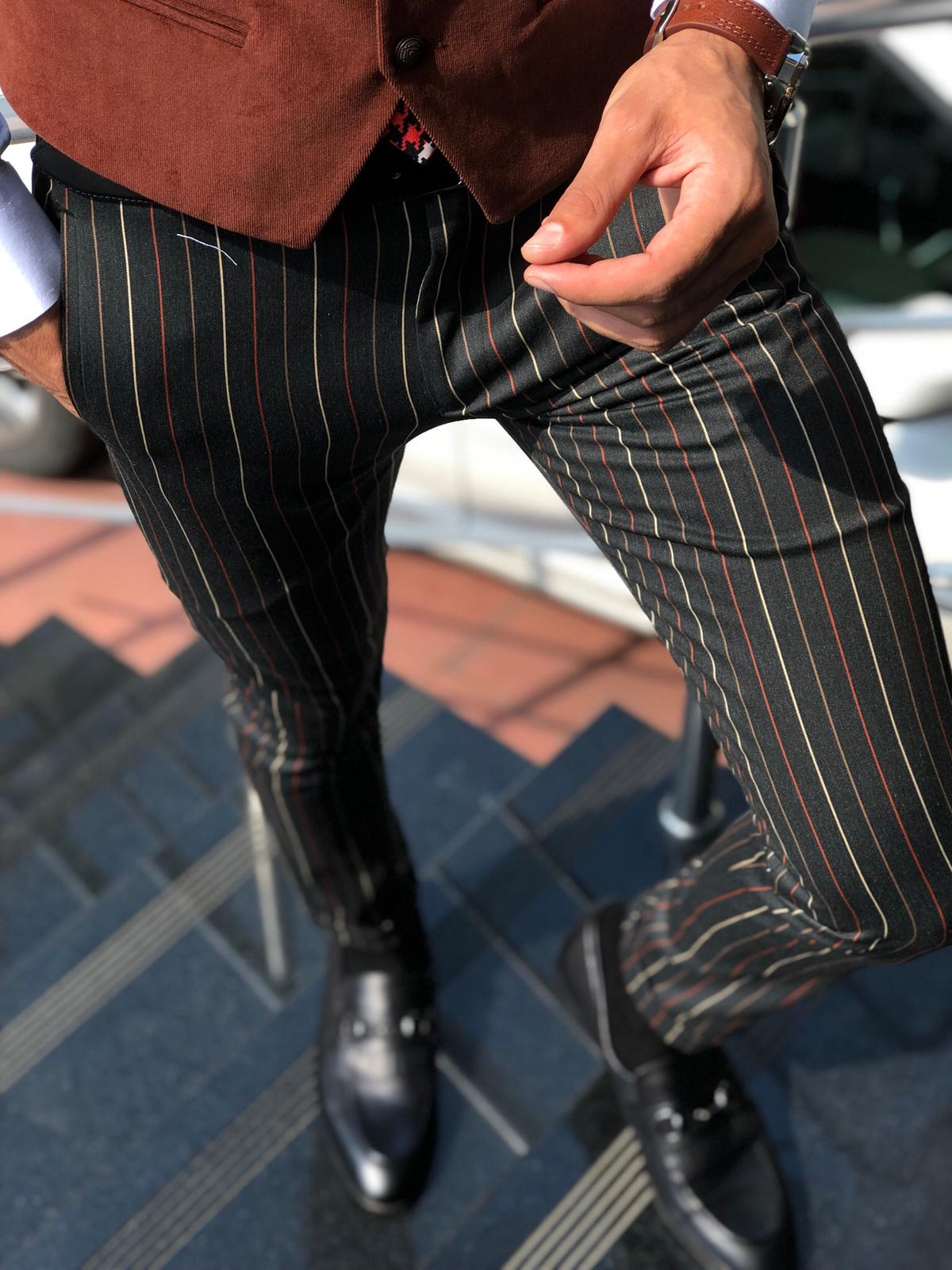 Melik Slim-fit Striped Pants Black