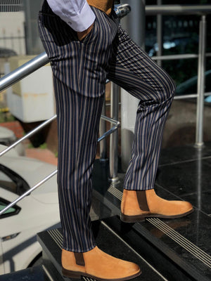 Mason Slim-Fit Striped Pants Blue
