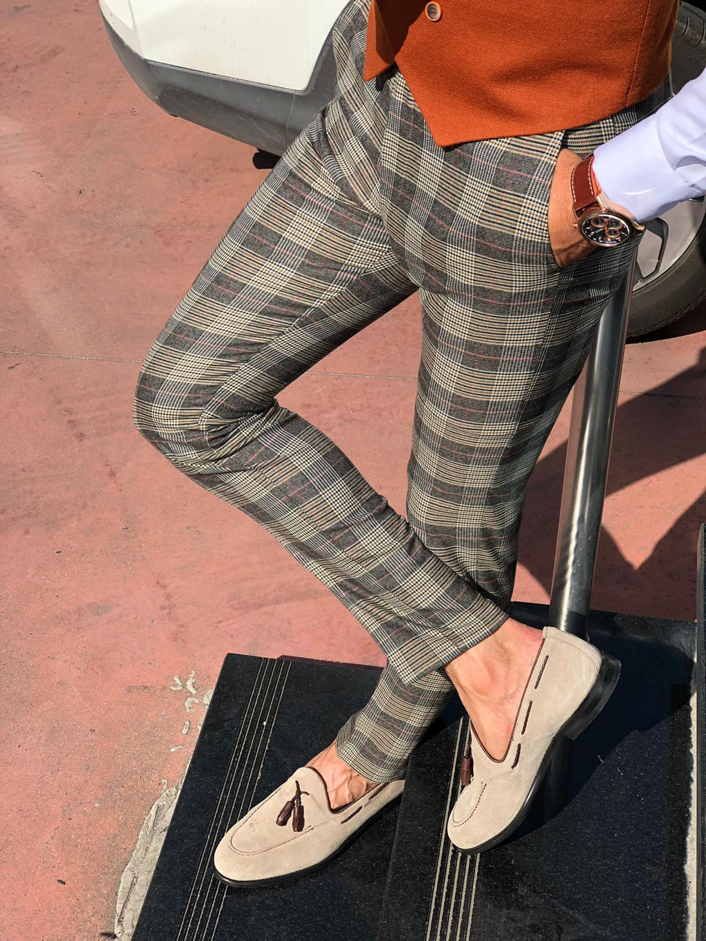Carlos Slim-fit Plaid Fabric Pants Camel