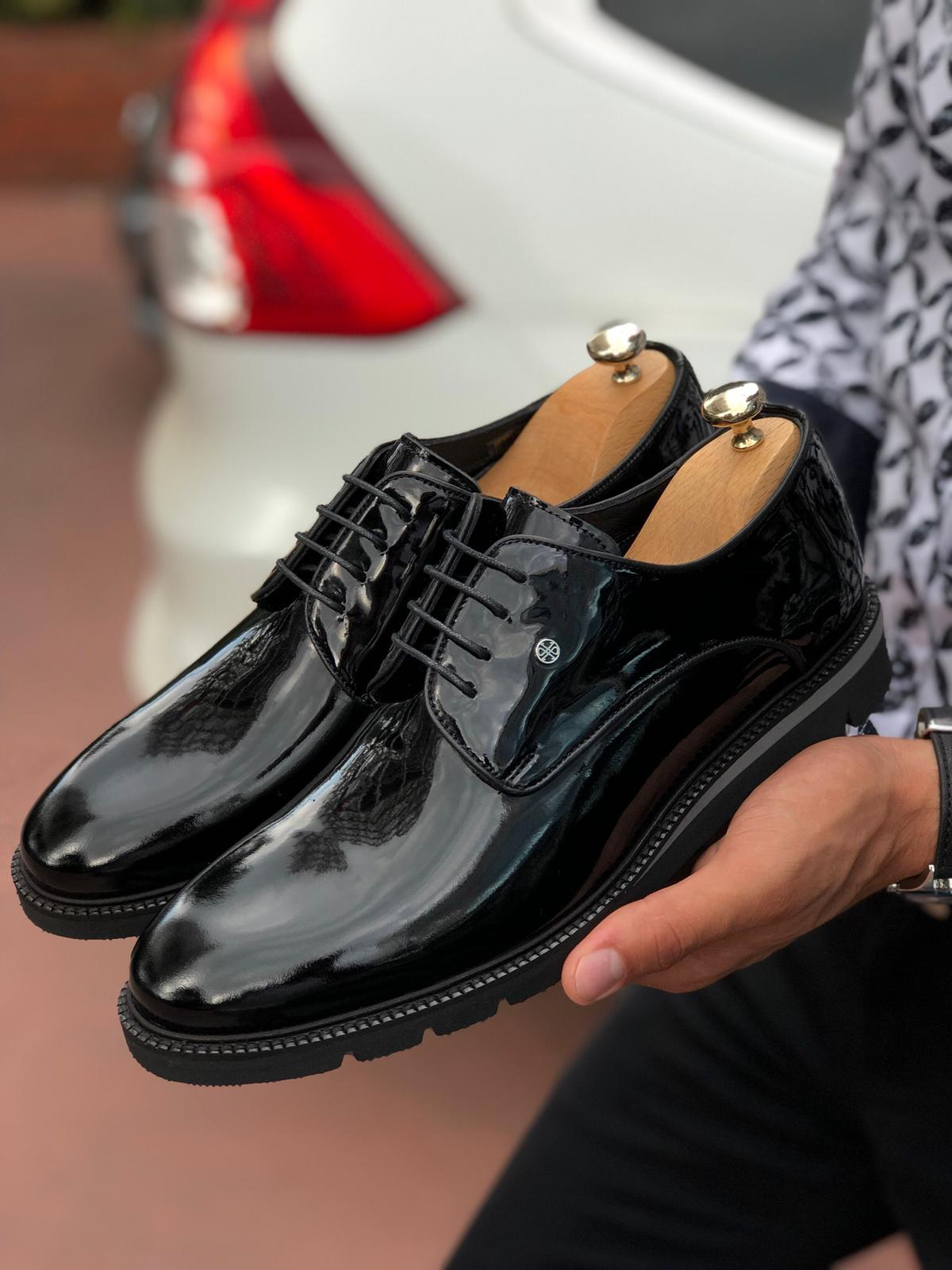 Patent Lace-up Leather Shoes Black