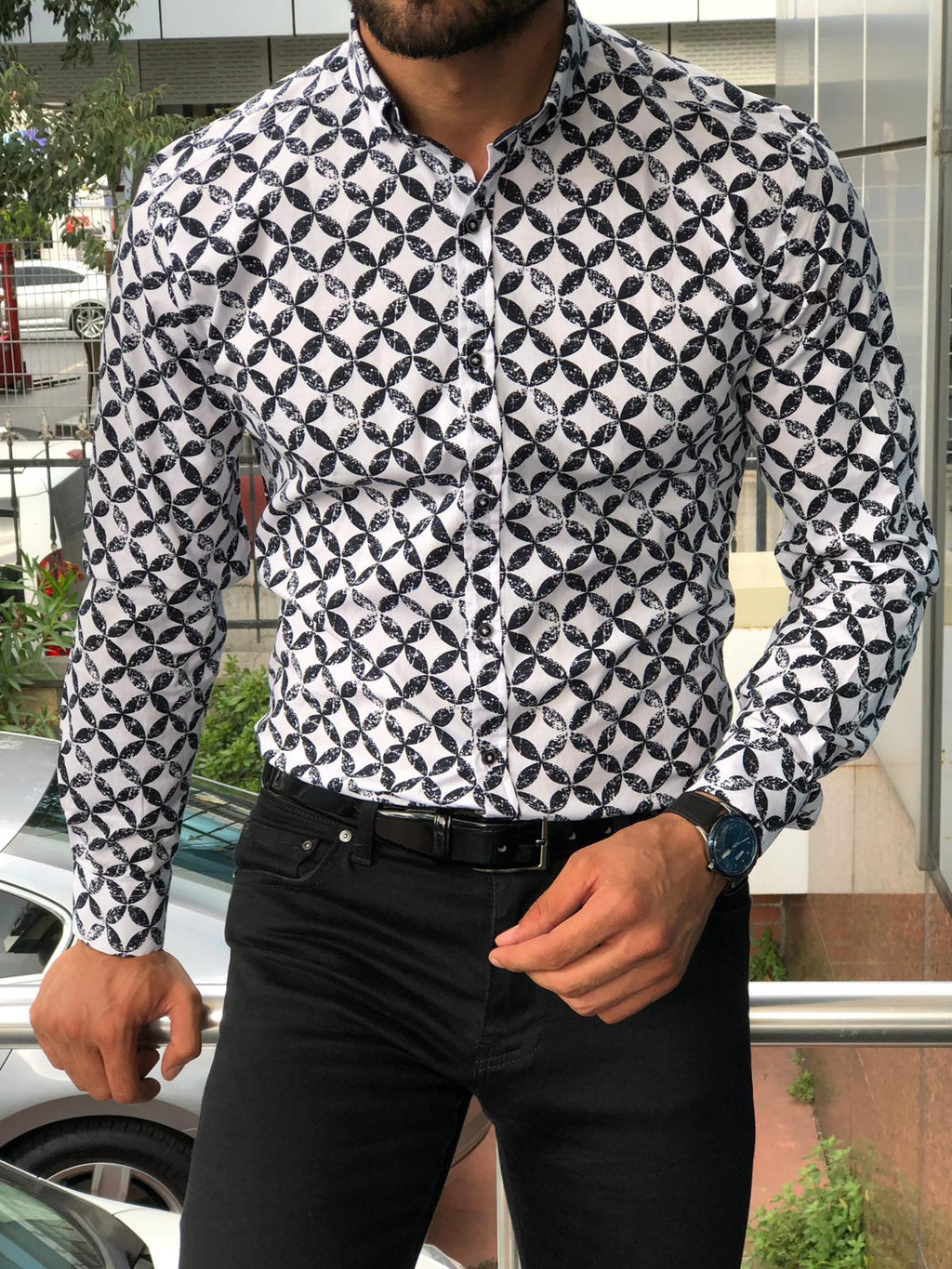 Toni Slim-Fit Patterned Shirt Black