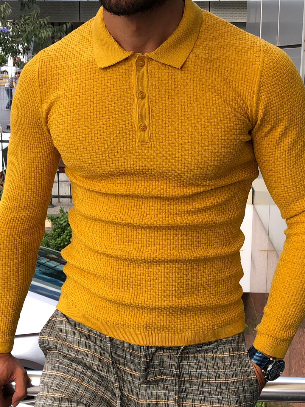 Carlos Slim-Fit Polo Sweater Mustard