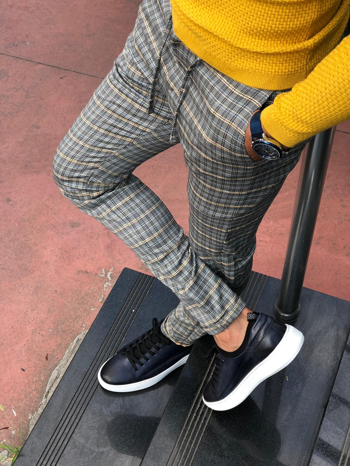Cris Slim-fit Plaid Pants Grey & Mustard