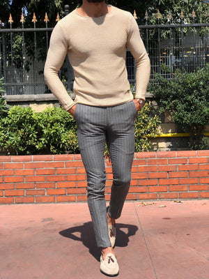 Slim-fit Striped Pants Grey
