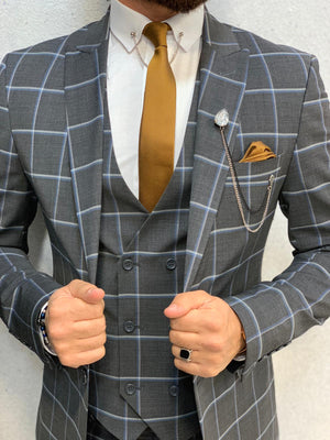 Cris Slim Fit Plaid Suit Navy