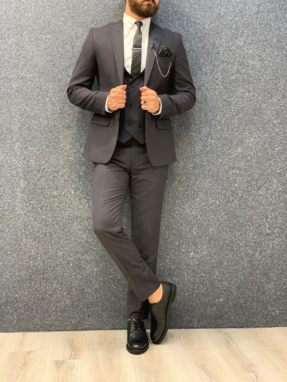 Kinda  Slim Fit Suit Dark Coffee