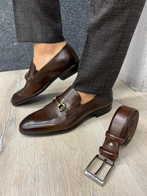 Buckled Suede Shoes Brown
