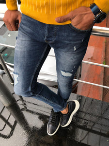 Major Slim-Fit Ripped Jeans Navy Blue