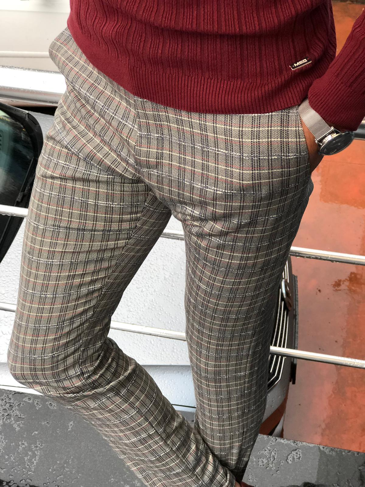Major Slim-Fit Plaid Pants Gray