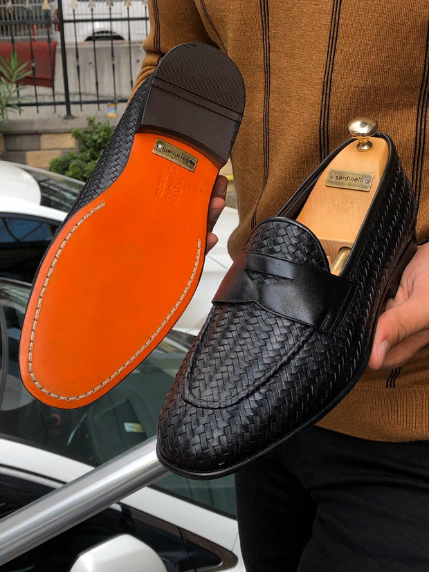 Knitted Leather Sardinelli Loafers Black