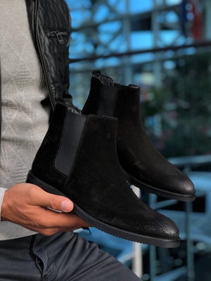 The Aqua Black Suede Leather Chelsea Boots