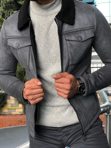 Alonso Leather Coat Gray