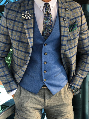 Slim-Fit Plaid Suit Vest Sax