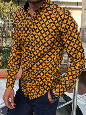 Bumb Slim-Fit Patterned Shirt Yellow