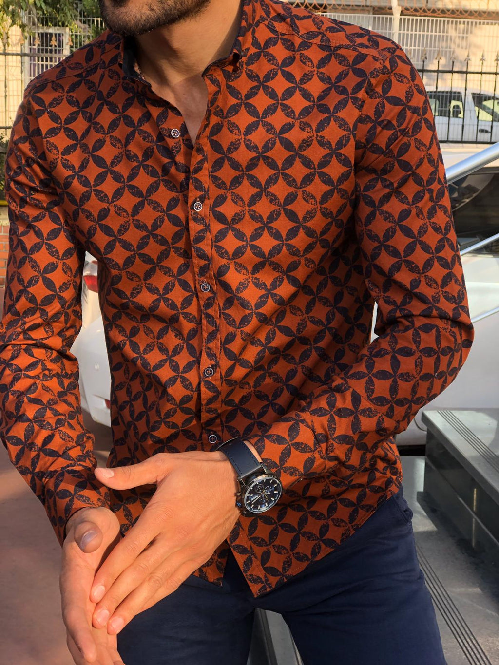 Bumb Slim-Fit Patterned Shirt Tile