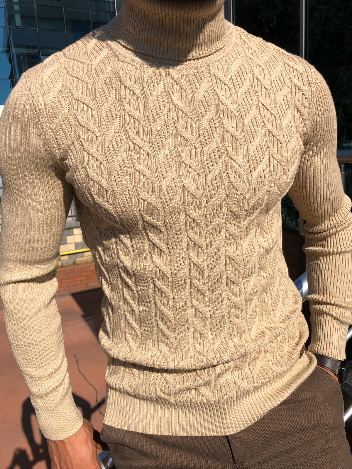 Calvin Slim-Fit Turtleneck Knitwear Beige