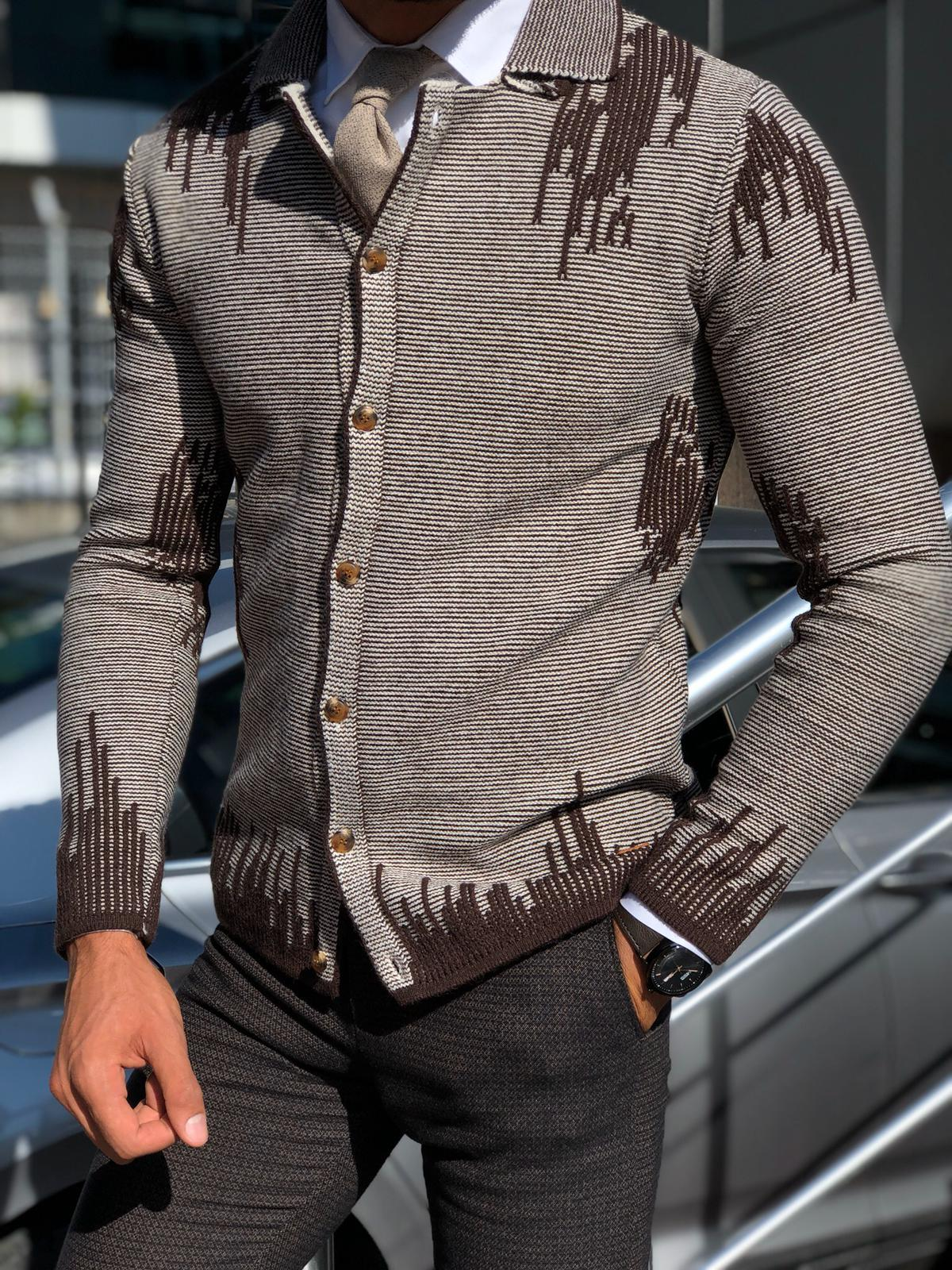 Gerry Slim-Fit Patterned Knitwear Cardigan Brown