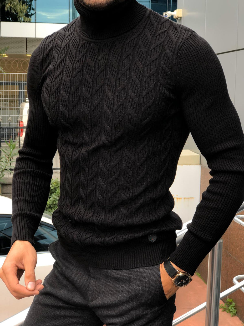 Calvin Slim-Fit Turtleneck Knitwear Black