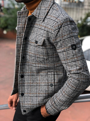 Alonso Slim-Fit Wool Plaid Coat Black